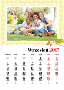 Kalendarz, Nasza rodzina, 30x40 cm
