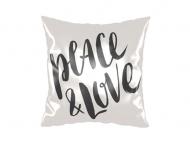 Poduszka, satyna, Peace&Love, 38x38 cm