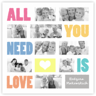 Plakat, All you need is love, 30x30 cm