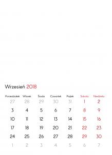 Kalendarz, Pusty szablon, 30x40 cm