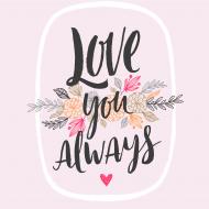 Magnes Love you always, 3,5x3,5 cm