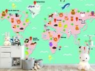 Fototapeta, Mapa świata dla dzieci