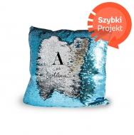 Poduszka, cekiny, Litera, 30x30 cm