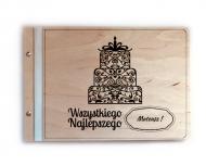 Album drewniany Wszystkiego najlepszego, 34x23 cm