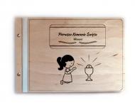 Album drewniany Komunia dziewczynki, 34x23 cm