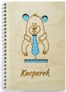 Notes drewniany Miś w krawacie, 15x21 cm