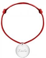 Bransoletka sznurkowa Koło sznurek posrebrzana , czerwony