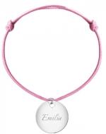Bransoletka sznurkowa Koło sznurek posrebrzana , różowy