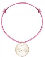 Bransoletka sznurkowa Koło sznurek pozłacana, różowy