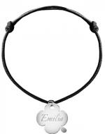 Bransoletka sznurkowa Koniczyna sznurek posrebrzana, czarny