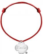 Bransoletka sznurkowa Koniczyna sznurek posrebrzana, czerwony