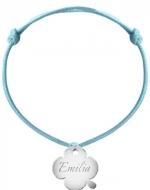 Bransoletka sznurkowa Koniczyna sznurek posrebrzana, niebieski