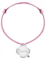 Bransoletka sznurkowa Koniczyna sznurek posrebrzana, różowy