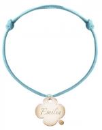 Bransoletka sznurkowa Koniczyna sznurek pozłacana , niebieski