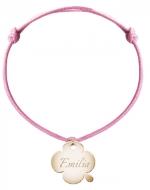 Bransoletka sznurkowa Koniczyna sznurek pozłacana , różowy