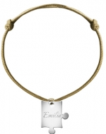 Bransoletka sznurkowa Puzzel sznurek posrebrzany , Beżowy