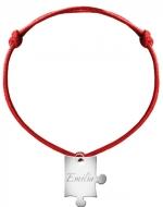 Bransoletka sznurkowa Puzzel sznurek posrebrzany , czerwony