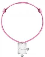 Bransoletka sznurkowa Puzzel sznurek posrebrzany , różowy