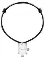 Bransoletka sznurkowa Puzzel sznurek posrebrzany , czarny
