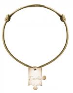Bransoletka sznurkowa Puzzel sznurek pozłacany, Beżowy