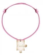 Bransoletka sznurkowa Puzzel sznurek pozłacany, różowy