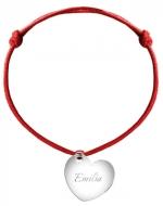 Bransoletka sznurkowa Serce sznurek posrebrzana, czerwony