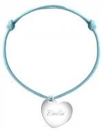 Bransoletka sznurkowa Serce sznurek posrebrzana, niebieski