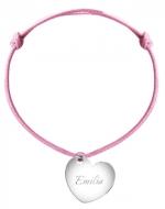 Bransoletka sznurkowa Serce sznurek posrebrzana, różowy