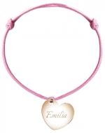 Bransoletka sznurkowa Serce sznurek pozłacana , różowy