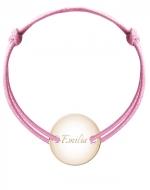 Bransoletka sznurkowa Koło przylegające pozłacane, różowy