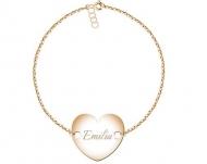 Bransoletka łańcuszek Łańcuszek z przylegającym sercem, złoty