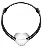 Bransoletka sznurkowa Serce przylegające posrebrzane, czarny