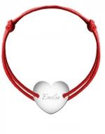 Bransoletka sznurkowa Serce przylegające posrebrzane, czerwony
