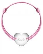 Bransoletka sznurkowa Serce przylegające posrebrzane, różowy