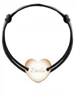 Bransoletka sznurkowa Serce przylegające pozłacane, czarny
