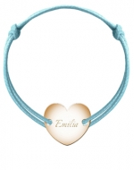 Bransoletka sznurkowa Serce przylegające pozłacane, niebieski