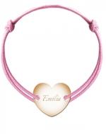 Bransoletka sznurkowa Serce przylegające pozłacane, różowy