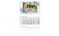 Kalendarz trójdzielny, Kropki, 30x85