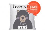 Poduszka, bawełna, Free Hugs, 38x38 cm