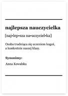 Plakat, Słownik - Najlepsza nauczycielka, 70x100 cm