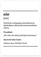 Plakat, Słownik - Nie, 30x40 cm