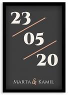 Plakat w ramce, Data - czarna ramka, 20x30 cm