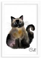 Plakat w ramce, Cat- biała ramka, 20x30 cm