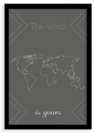 Plakat w ramce, Mapa świata- czarna ramka, 20x30 cm