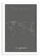 Plakat w ramce, Mapa świata- biała ramka, 20x30 cm