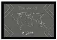 Plakat w ramce, Mapa świata- czarna ramka, 30x20 cm