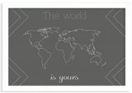 Plakat w ramce, Mapa świata- biała ramka, 30x20 cm