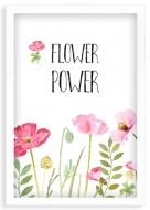 Plakat w ramce, Flower power - biała ramka, 20x30 cm