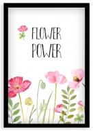 Plakat w ramce, Flower power - czarna ramka, 20x30 cm