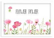 Plakat w ramce, Flower power - biała ramka, 30x20 cm